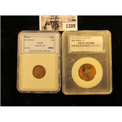 1309 . 1964-D Mint error Lincoln Cent with A planchet Clip & 2004-S Proof Texas State Quarter