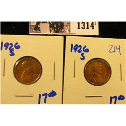 1314 . (2) Keydate1926-S Lincoln Wheat Cents.