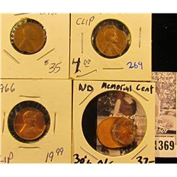 1369 . Error Coins Lot Includes: 1942 Wheat Penny With A Clipped Planchet, Off-center Memorial Cent,