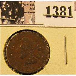1381 . 1873 Semi Key Date Indian Penny