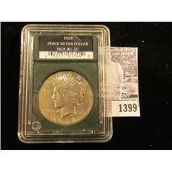 """1399 . 1928 P U.S. Peace Silver in a slabbed holder from """"Double Eagle Assets"""" where they labeled it"""
