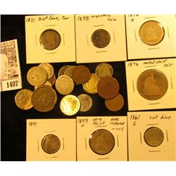 1407 . $2.18 face value of very worn or cull U.S. Coins, 1821-1921. Includes 2c, 3c Nickel, Seated L