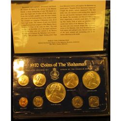 """1408 . 1970 """"Coins of the Bahamas"""" 9-piece Original Silver Set in Mint holder. Struck by the Frankli"""