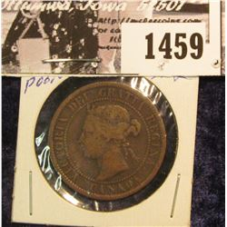 1459 . 1881H??? Poor Date Canada Large Cent.