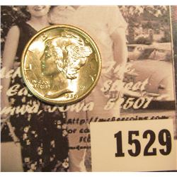 1529 . 1929 P Mercury Dime, Uncirculated with nearly full split bands.