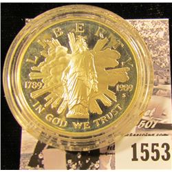 1553 . 1989 S Bicentennial of the Congress Proof Silver Dollar, encapsulated.