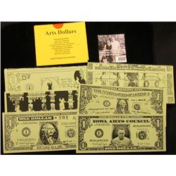 """1557 . (7) Different Iowa """"Arts Dollars"""" with literature from """"Iowa Citizens for the Arts""""."""