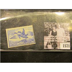 1571 . 1952 RW19 U.S. Department of the Interior Federal Migratory Waterfowl Stamp. Signed.