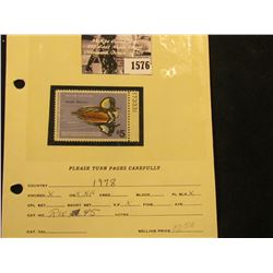1576 . 1978 RW45 U.S. Department of the Interior Federal Migratory Waterfowl Stamp. Plate number sin