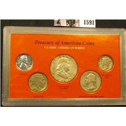 "1591 . ""Treasury of American Coins Classic American Series"" in plastic case: 1943 P Steel Cent; 1935"