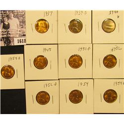 1618 . 1937P, 39S, 40P, 45P, 51D, 52P, 52D, 54P, D, & S Lincoln Cents all grading from Brown Unc to