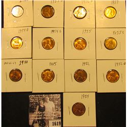 1619 . 1935P, S, 36D, 37P, 40P, 45P, 52P, D, 54P, D, S, 55P, & S Lincoln Cents all grading from Brow