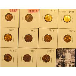 1621 . 1935P, S, 37P, 40P, 45P, 52P, 54P, D, S, 55P, & S Lincoln Cents all grading from Brown Unc to