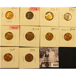 1622 . 1935P, 36P, D, S, 37P, D, S, 40P, 45P, & 54P Lincoln Cents all grading from Brown Unc to Supe