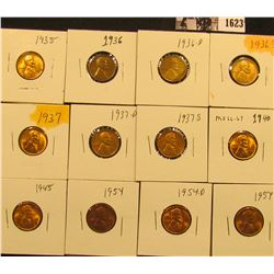 1623 . 1935P, 36P, D, S, 37P, D, S, 40P, 45P, 54P, D, & S Lincoln Cents all grading from Brown Unc t