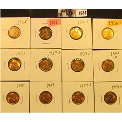 1624 . 1935P, 36P, D, S, 37P, D, S, 40P, 45P, 54P, D, & S Lincoln Cents all grading from Brown Unc t