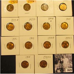 1625 . 1935P, 36P, D, 37P, D, S, 40P, 45P, 52P, 54P, D, 55P & S Lincoln Cents all grading from Brown