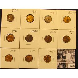 1626 . 1935P, 37P, D, S, 38P, D, S, 40P, 45P, 52P, & 55S Lincoln Cents all grading from Brown Unc to