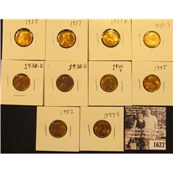 1627 . 1935P, 37P, D, S, 38D, S, 40P, 45P, 52P, 54S, & 55S Lincoln Cents all grading from Brown Unc