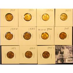 1628 . 1935P, 37P, D, S, 38D, S, 40P, 45P, 52P, 54S, & 55S Lincoln Cents all grading from Brown Unc