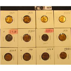 1629 . 1935P, 37P, D, S, 38P, D, S, 39P, D,.40P, D, & S  Lincoln Cents all grading from Brown Unc to