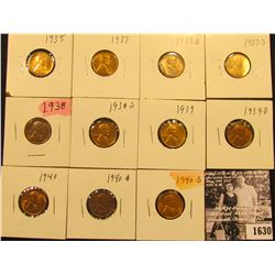 1630 . 1935P, 37P, D, S, 38P, S, 39P, D,.40P, D, & S  Lincoln Cents all grading from Brown Unc to Su