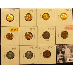 1632 . 1935P, D, 40P, D, S, 41P, D, S, 43P, S, & 66 P (SMS) Lincoln Cents all grading from Brown Unc