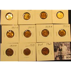 1634 . 1935P, 36P, S, 37P, D, S, 38D, 39P, D, S, & 1963 P (Proof) Lincoln Cents all grading from Bro