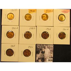 1638 . 1935P, 40P, D, 41P, D, S, 64P, D, 65P, & 66P  Lincoln Cents all grading from Brown Unc to Sup