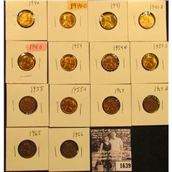 1639 . 1940P, D, 41P, D, S, 54P, D, S, 55P, S, 64P, D, 65P, & 66P Lincoln Cents all grading from Bro