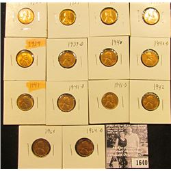 1640 . 1935P, 37P, D, S, 39P, D, 40P, D, 41P, D, S, 42P, 64P, & D Lincoln Cents all grading Brown Un