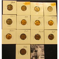 1643 . 1940P, D, 41P, D, S, 54P, D, S, 55S, 64P, D, 65P, & 66P Lincoln Cents all grading from Brown