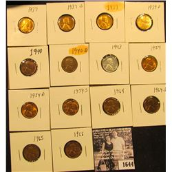1644 . 1937P, S, 39P, D,.40P, D, 43P, 54P, D, S, 64P, D, 65P, & 66P  Lincoln Cents all grading from