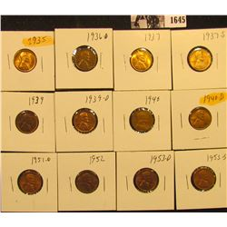 1645 . 1935P, 36D, 37P, S, 39P, D, 40P, D, 51D, 52P, 53D & S Lincoln Cents all grading from Brown Un