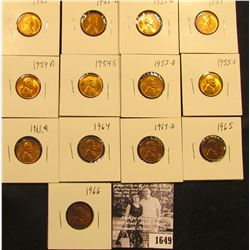 1649 . 1945P, D, 51D, 54P, D, S, 55D, S, 61D, 64P, D, 65P, & 66P Lincoln Cents all grading from Brow
