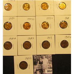 1652 . 1941S, 42P, D, 45P, 50P, 54S, 55S, 68P, D, S, 69P, D, & S Lincoln Cents all grading from Brow