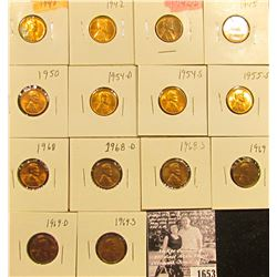 1653 . 1940P, 42P, D, 45P, 50P, 54D, S, 55S, 68P, D, S, 69P, D, & S Lincoln Cents all grading from B