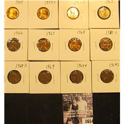 1654 . 1945P, 50P, 54S, 55S, 65P, 66P, 67P, 68P, D, S, 69P, D, & S Lincoln Cents all grading from Br