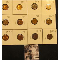 1655 . 1935P, 55S, 64P, D, 66P, 67P, 68P, D, S, 69P, D, & S Lincoln Cents all grading from Brown Unc