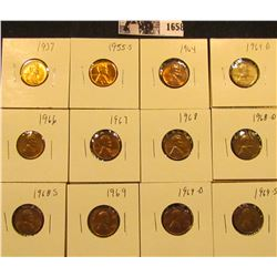 1658 . 1937P, 55S, 64P, D, 66P, 67P, 68P, D, S, 69P, D, & S Lincoln Cents all grading from Brown Unc