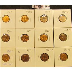 1659 . 1937P, 55S, 64P, D, 66P, 67P, 68P, D, S, 69P, D, & S Lincoln Cents all grading from Brown Unc