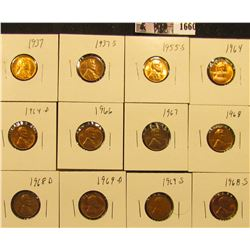 1660 . 1937P, S, 55S, 64P, D, 66P, 67P, 68P, D, S, 69D, & S Lincoln Cents all grading from Brown Unc