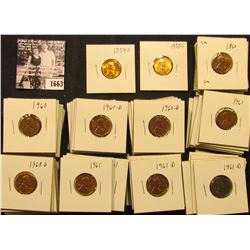 1663 . 1954S, 55S, (18) 60P, (22) D, (11) 61P, (22) D, & (9) 68D Lincoln Cents all grading from Brow
