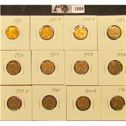 1666 . 1937P, 47D, 49D, 52D, 56P, 57P, 58P, D, 59D, 60P, D, & 61P Lincoln Cents all grading from Bro