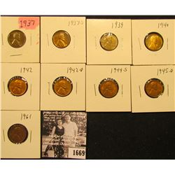 1669 . 1937P, S, 39P, 40P, 42P, D, 44S, 45D, & 61P Lincoln Cents all grading from Brown Unc to Super