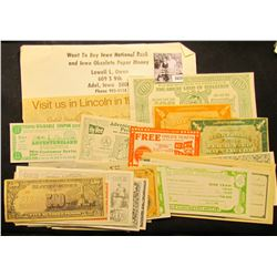 1670 . Large Group of Satirical, Political, or Advertising Play Money, including copies of C.S.A. no