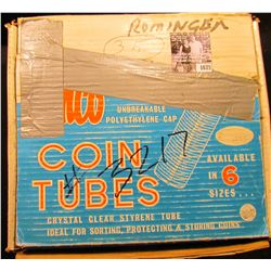 1675 . (64) Full & partially full tubes of Lincoln Cents in a 50-Roll Stock box. Includes such dates