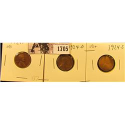 1705 . 1924 P VG, 24 D VG, & 24 S VG+ Lincoln Cents.