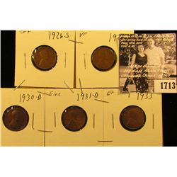 1713 . 1926 S G+, 28 S VF, 30 D EF, 31 D Fine, & 33 P EF Lincoln Cents.