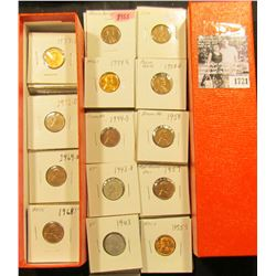 "1721 . 9"" Stock box with 2 x 2 carded Lincoln Cents dating from 1943-1986, lots of BU coins, 1954 S"